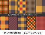 set of 10 options tartan... | Shutterstock .eps vector #1174929796