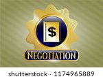 shiny emblem with book with... | Shutterstock .eps vector #1174965889