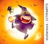 cute little witch. girl kid in... | Shutterstock .eps vector #1174968973