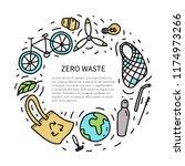 zero waste flyer. hand drawn... | Shutterstock .eps vector #1174973266