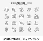 thin line icons set of money ... | Shutterstock .eps vector #1174974079