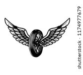 hand drawn wheel with wings... | Shutterstock .eps vector #1174977679