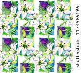 delicate lilies in watercolor...   Shutterstock . vector #1174986196