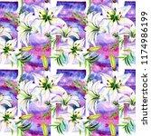 delicate lilies in watercolor...   Shutterstock . vector #1174986199