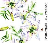 delicate lilies in watercolor...   Shutterstock . vector #1174986220