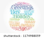 happy 8th birthday word cloud... | Shutterstock .eps vector #1174988059