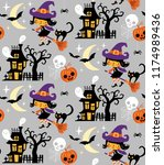 halloween themed seamless... | Shutterstock .eps vector #1174989436