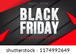 black friday sale banner layout ... | Shutterstock .eps vector #1174992649