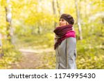 young stylish woman walking in... | Shutterstock . vector #1174995430