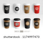 realistic vector paper coffee... | Shutterstock .eps vector #1174997473