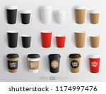 Stock vector realistic vector paper coffee cup blank mockup for cafe restaurant brand identity design and logo 1174997476