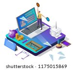 sending messages. email inbox ... | Shutterstock .eps vector #1175015869