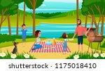 family picnic in park or river...   Shutterstock .eps vector #1175018410