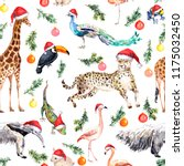 Animals And Birds In Red Santa...