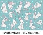 cute white rabbit bunny... | Shutterstock .eps vector #1175033983