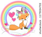 vector red fox hand drawn... | Shutterstock .eps vector #1175034703