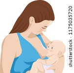 mother feeds baby with breast....   Shutterstock .eps vector #1175035720