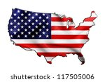Usa Map And Flag Against White...