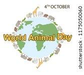 world animal day  4 october.... | Shutterstock .eps vector #1175050060