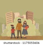 family in gas masks on smog... | Shutterstock .eps vector #1175053606