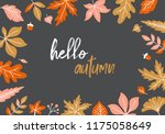 autumn background with fall... | Shutterstock .eps vector #1175058649