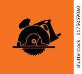 Circular Saw Icon. Orange...