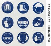 set of safety and health... | Shutterstock . vector #1175064613