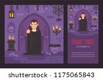 vampire in a cape standing in a ... | Shutterstock .eps vector #1175065843