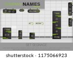 set signage.direction pole ... | Shutterstock .eps vector #1175066923