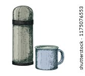 thermos and mug for camping...   Shutterstock . vector #1175076553