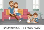 sister and brother playing with ... | Shutterstock .eps vector #1175077609