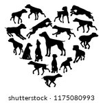 Stock vector a pointer or similar dog heart silhouette concept for someone who loves their pet 1175080993