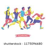 running marathon  people run ... | Shutterstock .eps vector #1175096680