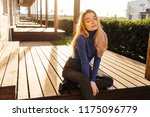 stylish young blond model girl... | Shutterstock . vector #1175096779