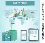 travel composition with famous... | Shutterstock .eps vector #1175105746