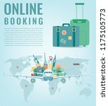 travel composition with famous... | Shutterstock .eps vector #1175105773