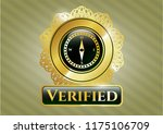 gold shiny emblem with compass ... | Shutterstock .eps vector #1175106709