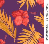 seamless tropical pattern with... | Shutterstock . vector #1175107843