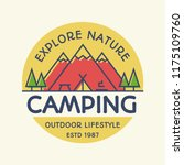 vector camping banner colorful... | Shutterstock .eps vector #1175109760