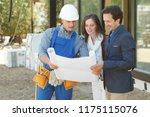 worker shows house design plans ... | Shutterstock . vector #1175115076
