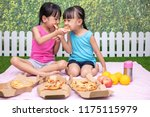 asian chinese little sisters... | Shutterstock . vector #1175115979