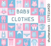 baby clothes icons set. flat... | Shutterstock .eps vector #1175116420