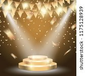 gold podium with brightly... | Shutterstock .eps vector #1175128939