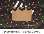 halloween card with halloween... | Shutterstock . vector #1175128993
