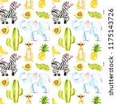 tropic seamless pattern. cute... | Shutterstock . vector #1175143726