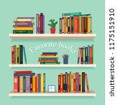 three bookshelves with favorite ... | Shutterstock .eps vector #1175151910