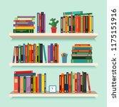 three bookshelves with favorite ... | Shutterstock .eps vector #1175151916