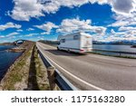 caravan car rv travels on the... | Shutterstock . vector #1175163280