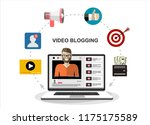 man blogger. video computer... | Shutterstock .eps vector #1175175589
