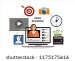 woman blogger. video computer... | Shutterstock .eps vector #1175175616